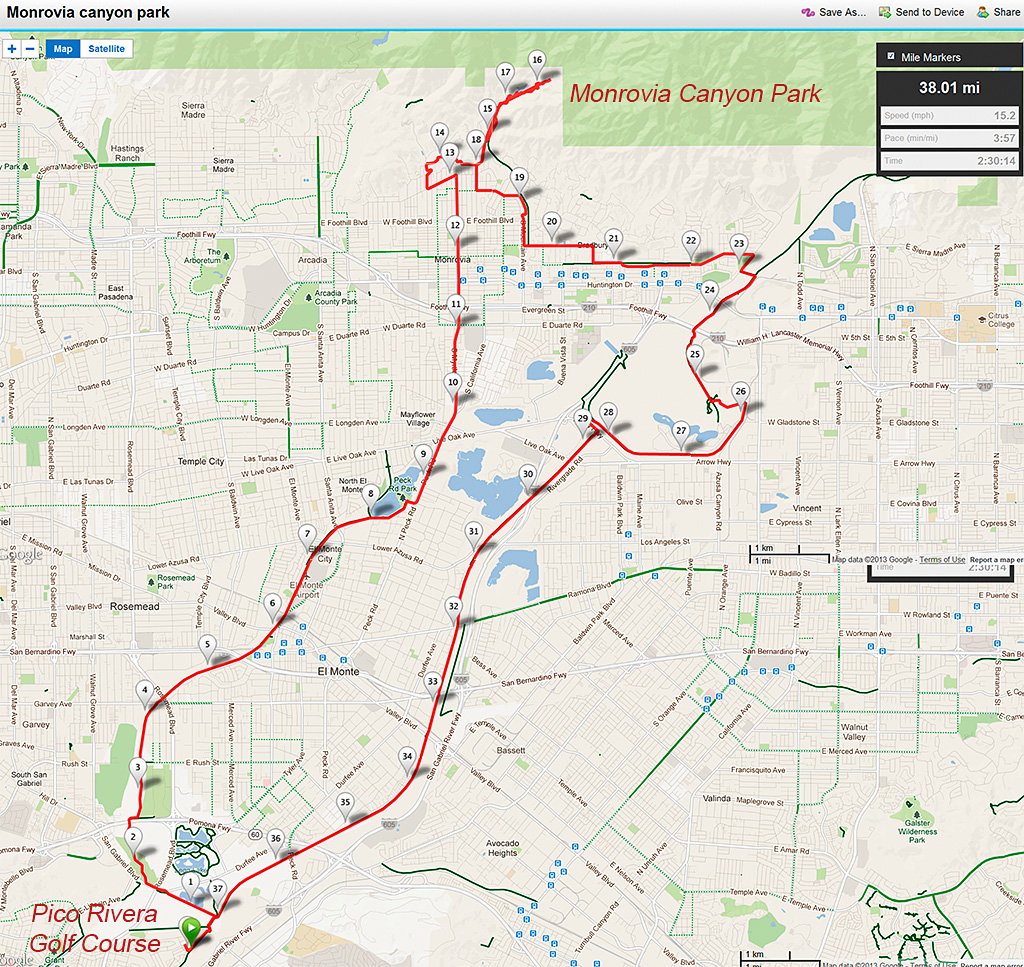 Monrovia Canyon Park map